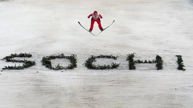 A competitor during the FIS Ski Jumping World Cup at the RusSki Gorki venue on December 9, 2012 in Sochi, Russia.