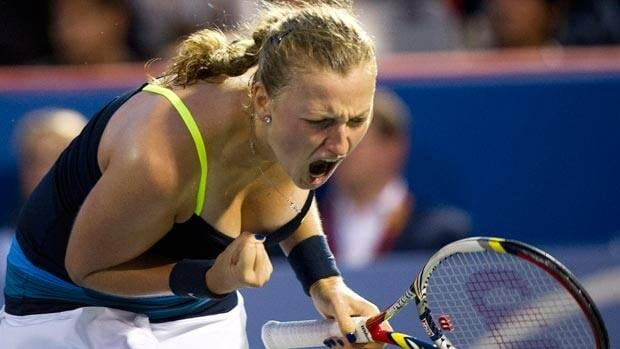 Petra Kvivotva lets out a shriek after a point during Monday's final at Uniprix Stadium.