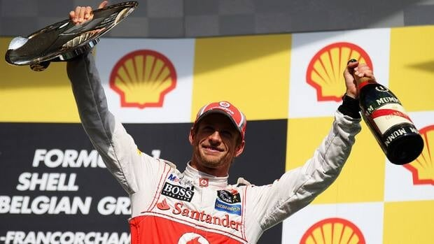 Jenson Button of Great Britain and McLaren celebrates on the podium after winning the Belgian Grand Prix at the Circuit of Spa Francorchamps on Sept. 2, 2012 in Spa Francorchamps, Belgium on Sunday.