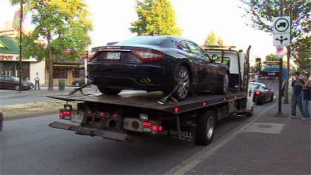 A high-end vehicle is impounded after an alleged street race in Metro Vancouver on Wednesday.