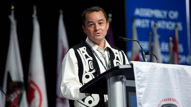 Shawn Atleo speaks during the opening ceremonies of the Assembly of First Nations convention in Toronto on Tuesday.  Atleo is running for re-election, with a vote expected to take place tomorrow.
