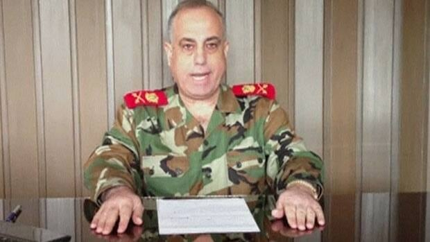 Maj.-Gen. Abdul-Aziz Jassem al-Shallal, head of Syria's military police, speaks in a video uploaded on a social media website on Wednesday. Al-Shallal has reportedly defected from the army and declared allegiance to the uprising against President Bashar al-Assad.