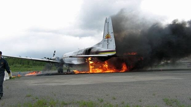A Wasaya Airways plane caught fire on the ground on Tuesday. No one was injured in the blaze, which sent thick, black plumes of smoke into the air.