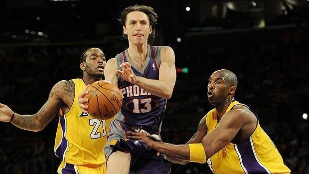 Steve Nash, shown in a 2010 game at Staples Center in Los Angeles, will now join forces with the Lakers and Kobe Bryant, right.