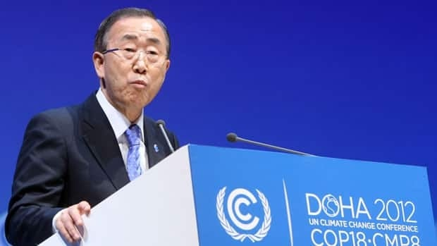 UN Secretary-General Ban Ki-moon addresses the opening of the high-level segment of the annual United Nations climate talks involving environment ministers and climate officials from nearly 200 countries, in Doha, Qatar.