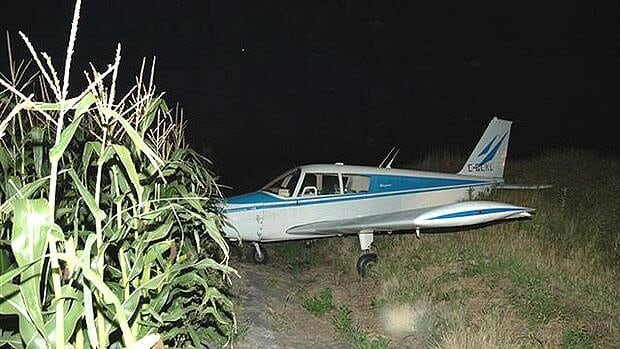 A Piper aircraft missed a grass landing strip and ended up in a drainage ditch at the Altona airport.