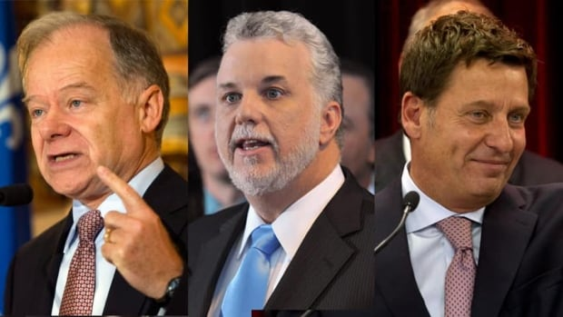 The three main candidates so far for the Quebec liberal leadership, from left: former finance minister Raymond Bachand, former health minister Philippe Couillard and former transport minister Pierre Moreau.