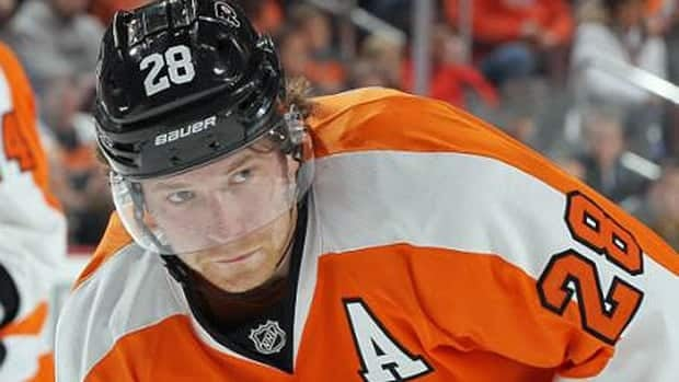 Claude Giroux of the Philadelphia Flyers was one of the first NHL players to wear the new helmet.