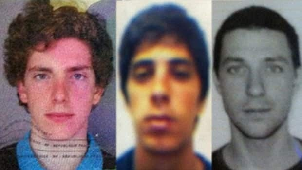 This combination of passport photos provided by Chile's ONEMI or regional emergency office, shows from left to right, Gillhem Bellon, 25, of France; Luca Ogliengo, 25, of Italy; and Dmitry Sivenkov, 32, of Russia.