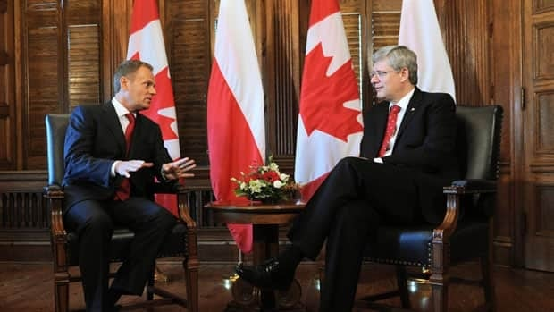 Polish Prime Minister Donald Tusk meets with Prime Minister Stephen Harper in his Parliament Hill office on Monday.