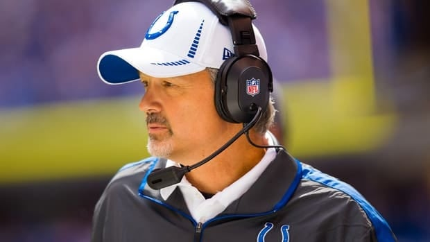 Indianapolis Colts head coach Chuck Pagano watches from the sidelines against the Jacksonville Jaguars at Lucas Oil Stadium on Sept. 23, in Indianapolis.