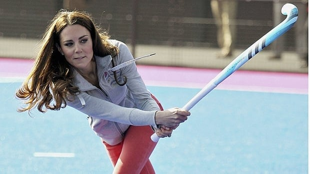 Kate tests her sporting skills on March 15, 2012, in London.
