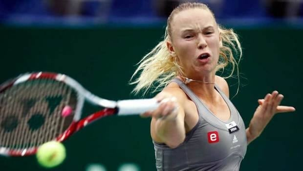 Denmark's Caroline Wozniacki returns a ball to Sweden's Sofia Arvidsson during a semifinal match at the Kremlin Cup in Moscow, Russia on Saturday.