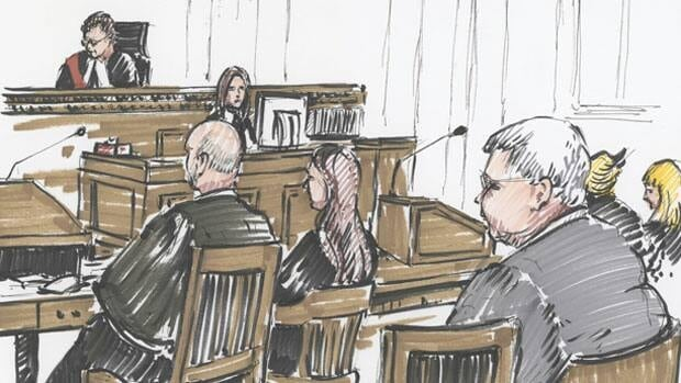 A court sketch of Mark Stobbe, seated to the right, in a Winnipeg courtroom as his second-degree murder trial began on Monday.