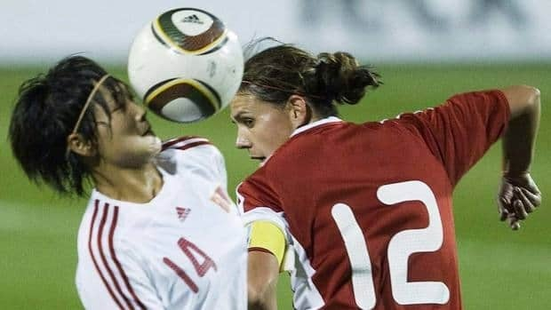 Christine Sinclair, right, of Canada's women's team, will taken on China in an exhibition game at Moncton Stadium in May.