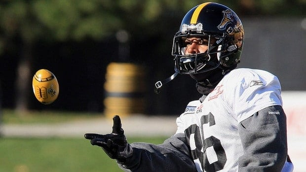Ticats Terence Jeffers-Harris catches a mini-football, during the Hamilton Tiger Cats' practice.