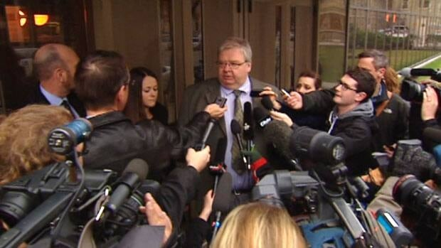 Mark Stobbe speaks to reporters outside the Winnipeg courthouse after the jury's verdict was handed down on Thursday.