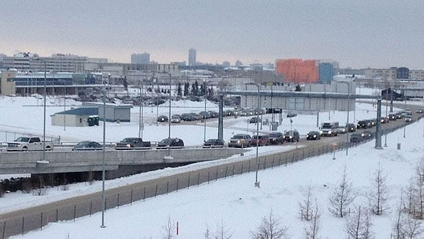 Traffic at Winnipeg's James A. Richardson International Airport is backed up during the Idle No More protest.