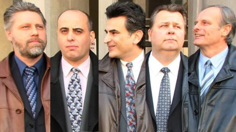 The jury trial of five former members of the Toronto Police Service drug  squad begins Monday. From left to right are Ray Pollard, Steven Correia, ...