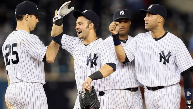 New York Yankees sluggers Nick Swisher, centre, Mark Teixeira, left, Robinson Cano and Derek Jeter, right, have helped the team maintain the top spot in the MLB Power Rankings.
