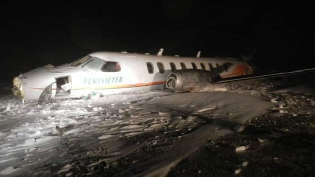 On Dec. 22, 2012, the Perimeter Aviation plane touched down hard on its second approach and came to rest between 150 and 200 metres past the end of the runway.