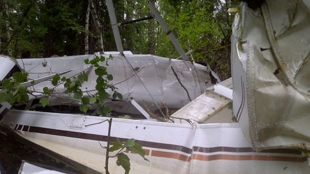 The scene of a plane crash near Trout Lake, north of Kenora, Ont., on Wednesday morning. The 78-year-old pilot and a 62-year-old passenger were seriously injured in the crash.