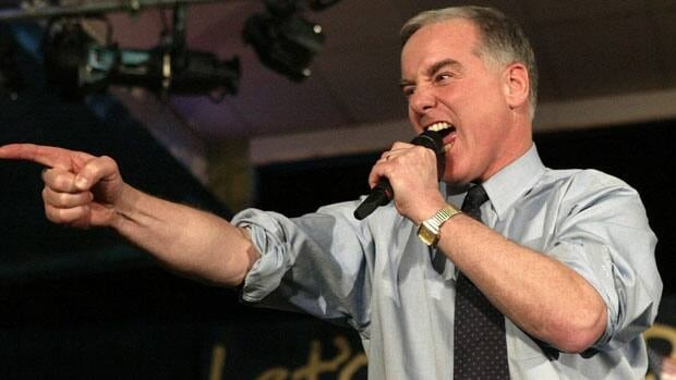 Howard Dean makes his famour 'Dean Scream' as he addresses supporters during his caucus night party in West Des Moines, Iowa, back in 2004.