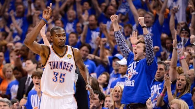 Kevin Durant (35) of the Oklahoma City Thunder reacts after making a shot in the second half in Game 1 in Oklahoma City, Oklahoma.