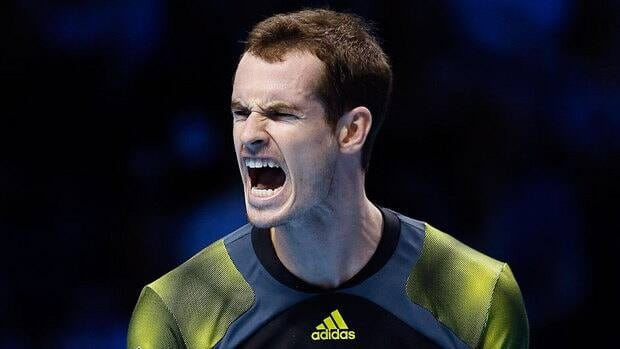 Andy Murray celebrates at match point after beating Tomas Berdych during their singles tennis match at the ATP World Tour finals.