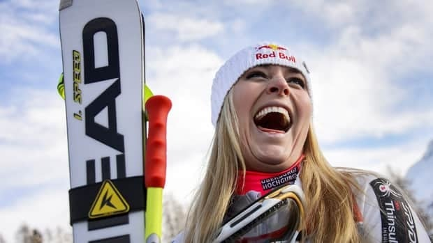 Lindsey Vonn celebrates after winning the women's super-G race on Saturday in St. Moritz, Switzerland. Vonn won the race ahead of Slovenia's Tina Maze and fellow American Julia Mancuso.
