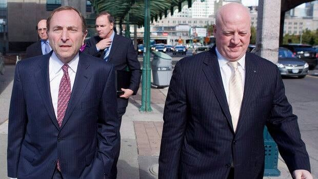 NHL deputy commissioner Bill Daly, right, with commissioner Gary Bettman, wouldn't say whether his camp will meet with the players' representatives anytime soon.