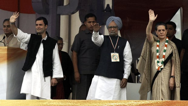 India's Prime Minister Manmohan Singh, centre, is flanked by the leader of India's ruling Congress party Sonia Gandhi and her politician son, Rahul Gandhi. The party is under fire for opening up India's retail sector to foreign investment.
