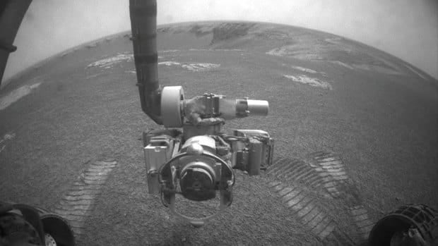 NASA's Mars rover Opportunity using its front hazard-identification camera to get this image in 2007. Opportunity, one of the twin Mars rovers that landed in 2004, has surpassed expectations.