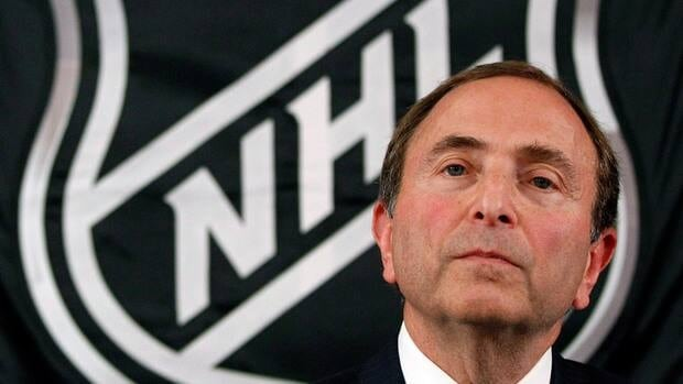 NHL commissioner Gary Bettman listens to reporters before the league locked out its players last month.