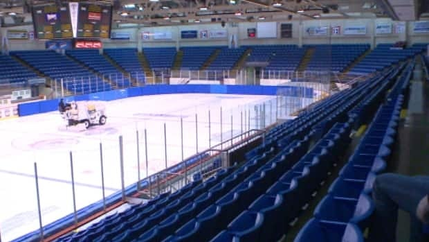 A sea of empty blue seats at the Charlottetown Civic Centre.