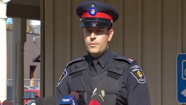 York Regional Police Const. Andy Pattenden is seen speaking with members of the media on Oct. 3, 2013, regarding an investigation into a series of severed cat heads that had been found in a small part of Whitchurch-Stouffville, Ont.