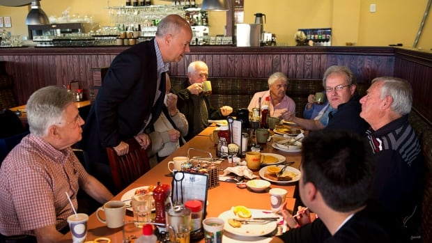 Progressive Conservative leader Jamie Baillie makes a campaign stop at Tom's Family Restaurant in Lower Sackville, N.S. on Sunday, Oct. 6, 2013. The Nova Scotia election is on Tuesday, October 8.
