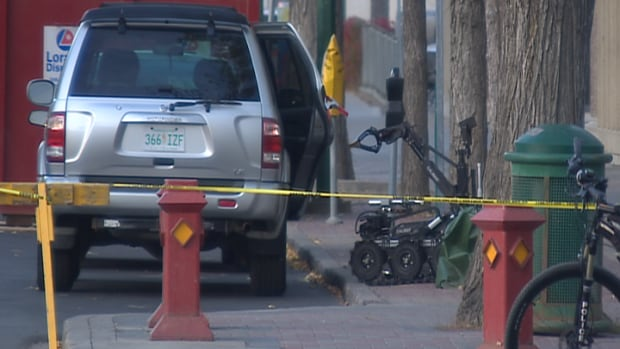 The Saskatoon police bomb robot gets up close with a suspicious package.