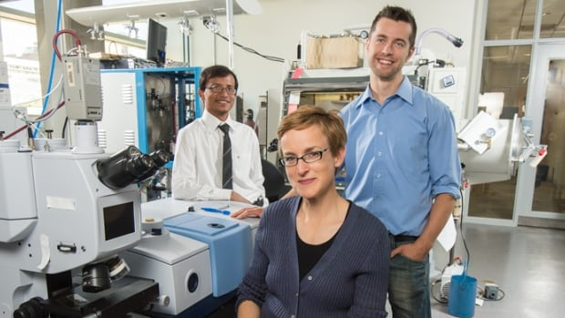 University of Alberta researcher Jillian Buriak (centre) worked with post-doctoral fellows Erik Luber (right) and Hosnay Mobarok to create the zinc phosphide nanoparticles that are being tested in spray-on solar cells.