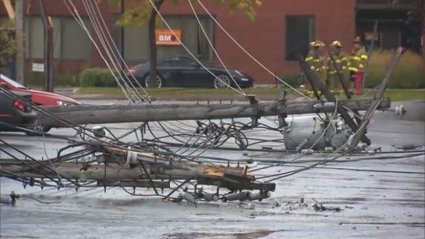 High winds knocked out power around the Montreal area.