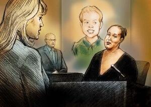 Illustration of Yvonne Kidman testifying at Jeffrey Baldwin inquest