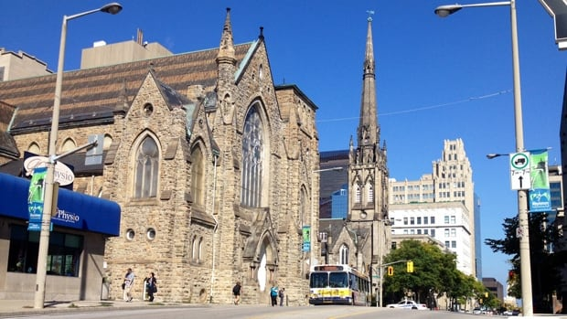 James Street Baptist is the southern gateway to a fine collection of impressive heritage structures, stretching right to the Pigott, Hamilton's first skyscraper.