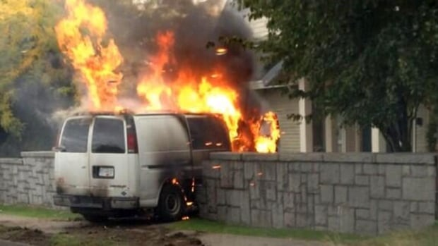 The van burst into flames after crashing into a concrete wall.