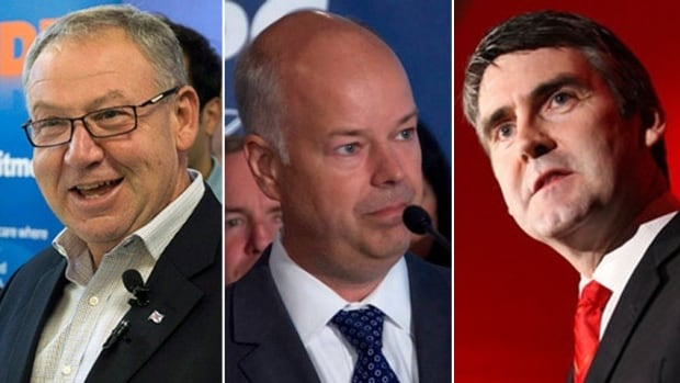 Nova Scotia NDP Leader Darrell Dexter, left, Progressive Conservative Leader Jamie Baillie, centre, and Liberal Leader Stephen McNeil, right, are all vying to be the next premier in today's provincial elections.