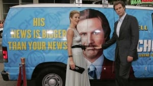 Anchorman, which starred Will Ferrell, right, and Christina Applegate, was a cult hit when it came out in 2004. Chrysler is reviving the lead character, Ron Burgundy, for its new Dodge Durango SUV ads, which will coincide with the ad campaign for the Anchorman sequel, set to come out in December.