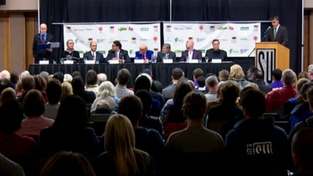 All but one of the candidates in the Calgary mayoral race attended a forum at the University of Calgary on Monday night.