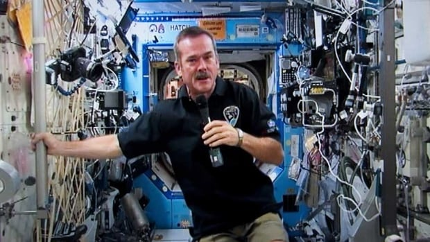 Retired astronaut Chris Hadfield visited Dalhousie University in Halifax on Monday as a reward for a successful Movember campaign.