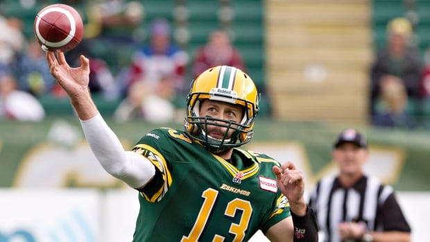 Edmonton Eskimos Mike Reilly is seen here making the throw against the Montreal Alouettes on Saturday. The Esks announced on Tuesday that their franchise quarterback will now be tasked with calling all the plays, unlike in the past.