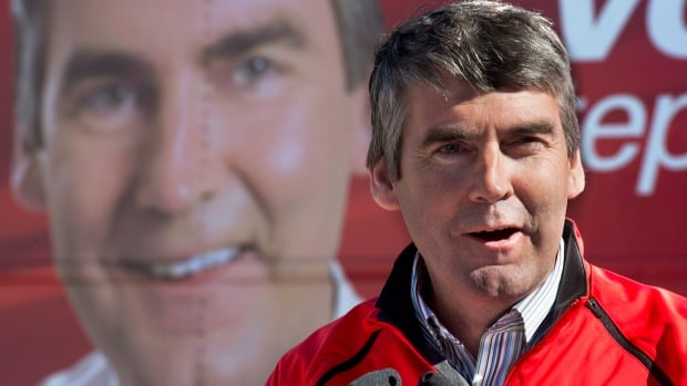 Stephen McNeil makes a campaign stop in Elmsdale, N.S., shortly before the Oct. 8, 2013 election.