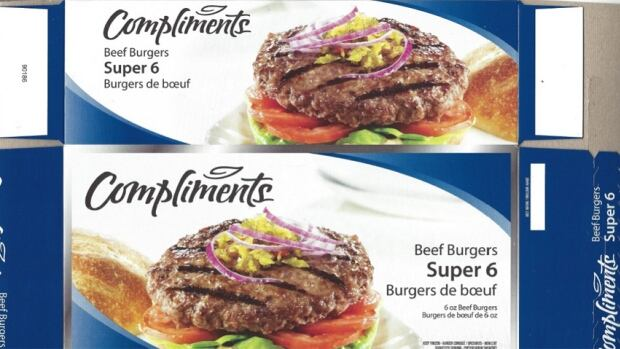 The Canadian Food Inspection Agency recall includes Compliments Super 6 burgers sold in the following Sobeys banner stores in Ontario: Sobeys, Sobeys Urban, Foodland, Freshco and Price Chopper.